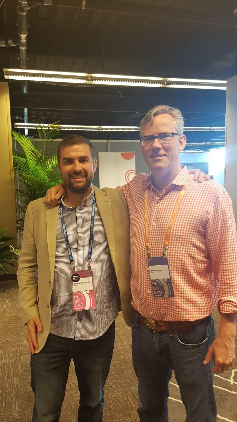 Inbound 17 , CEO Brian Halligan and Thierry Calderon Hubspot Partner from Reunion Island.jpeg