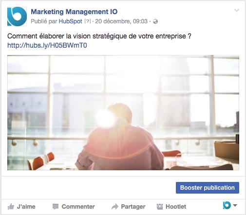 page entreprise facebook article