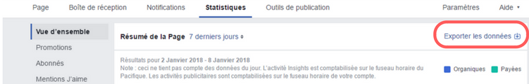 statistique facebook exporter donnees
