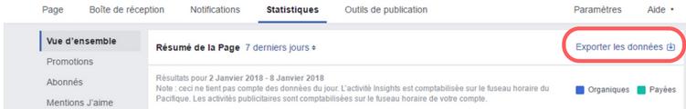 statistique facebook exporter donnees