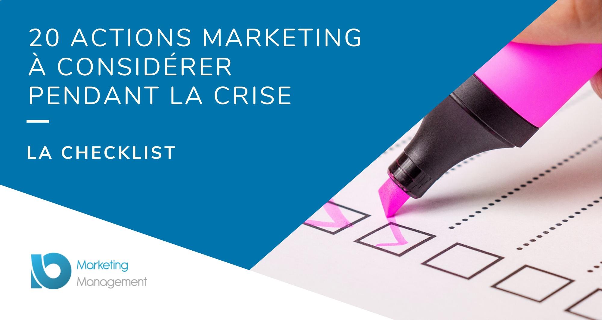 [Checklist] 20 actions marketing à considérer pendant la crise (et être prêt pour l'après)